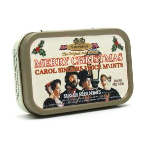 Carol Singers Voice Mints Merry Christmas - Sugar Free Mints Sweets Tin 40g - Simpkins